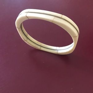 Vintage brass and carved stone squared bangle